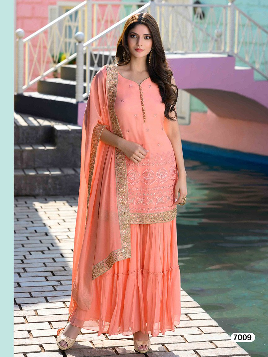 Peach viscose georgette sharara set with thread work and golden embroidery