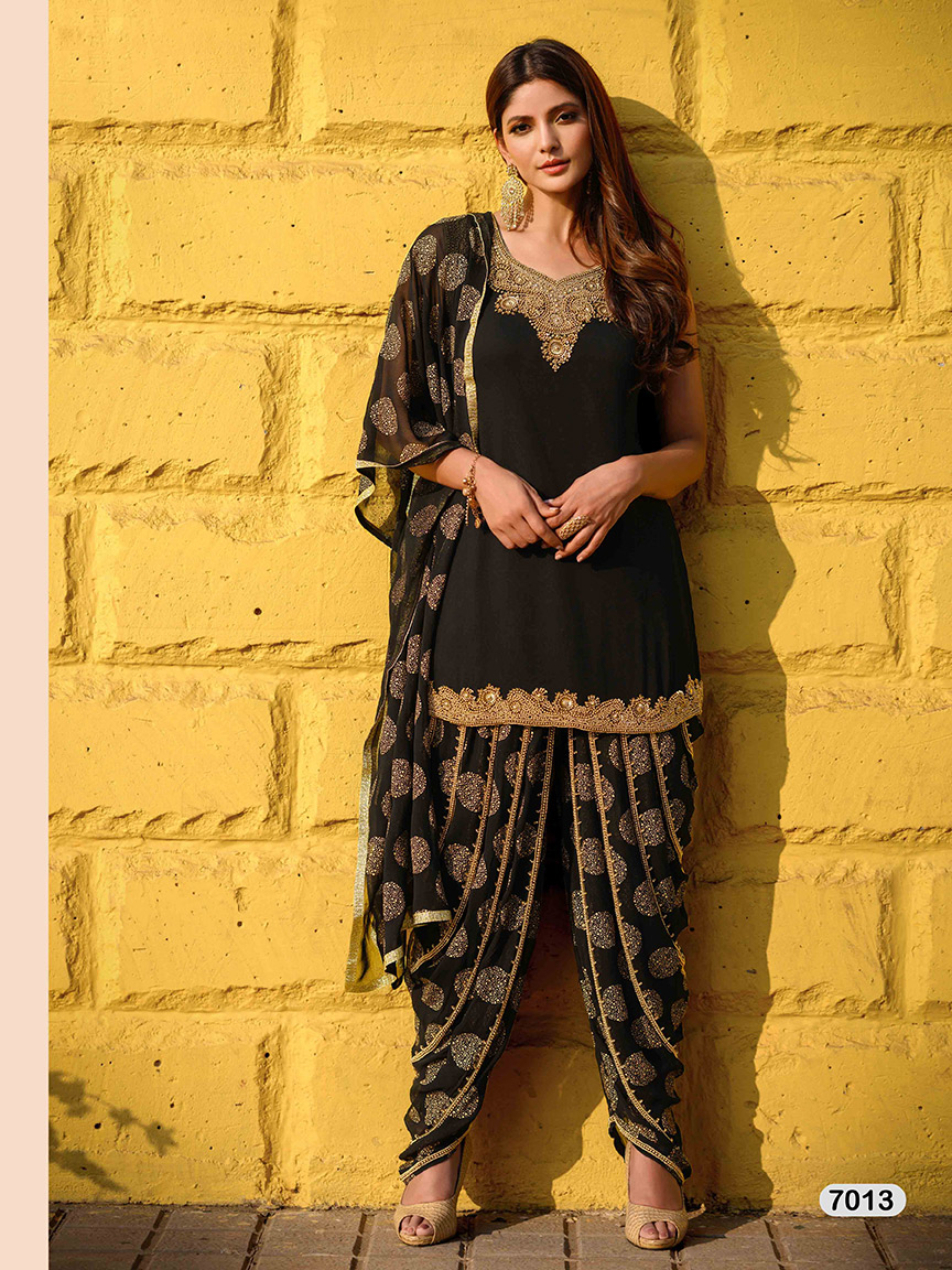 Simple and elegant black viscose georgette sharara set with golden patterns and embroidery