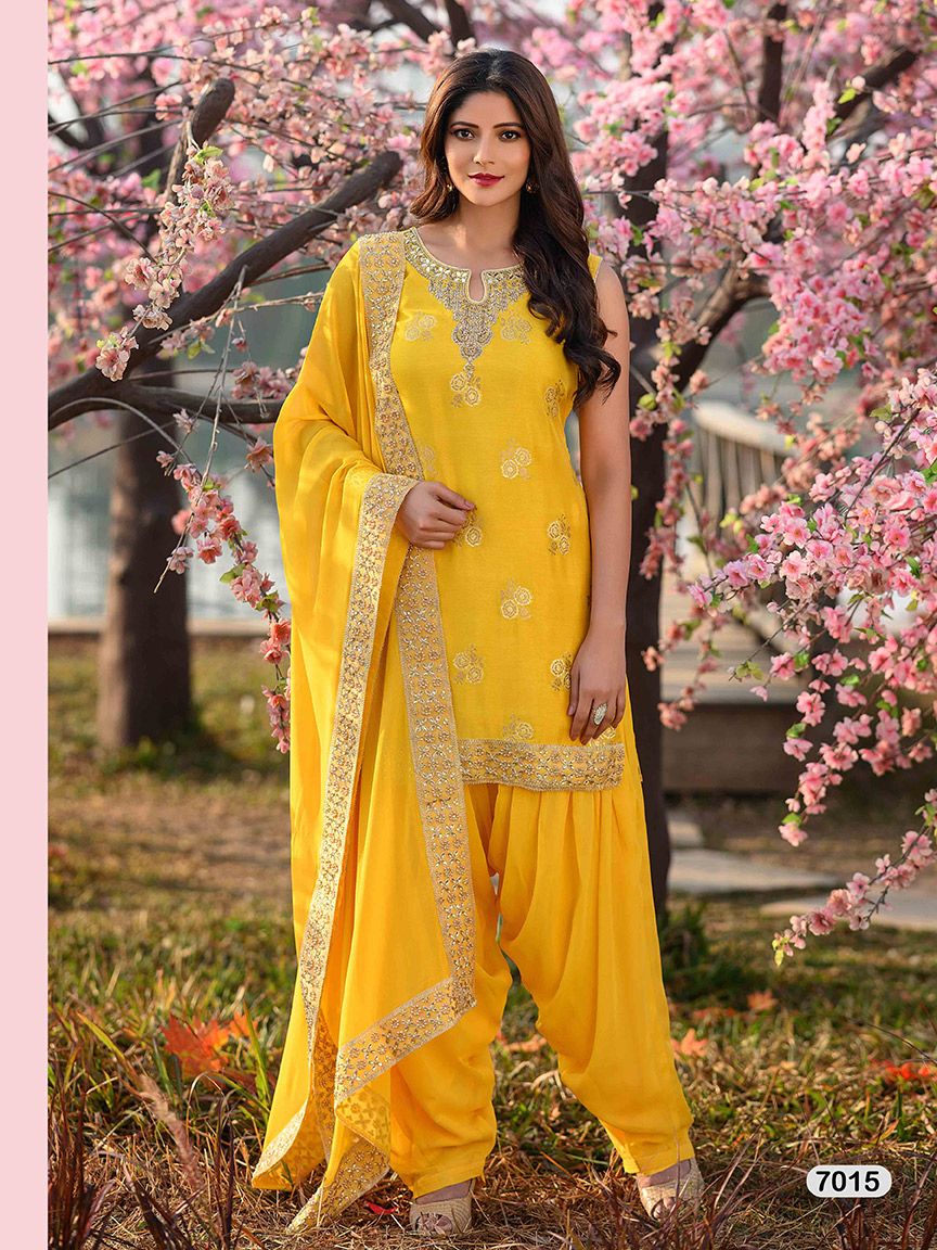 Bright yellow heavy viscose georgette sharara set with gota work and embroidery