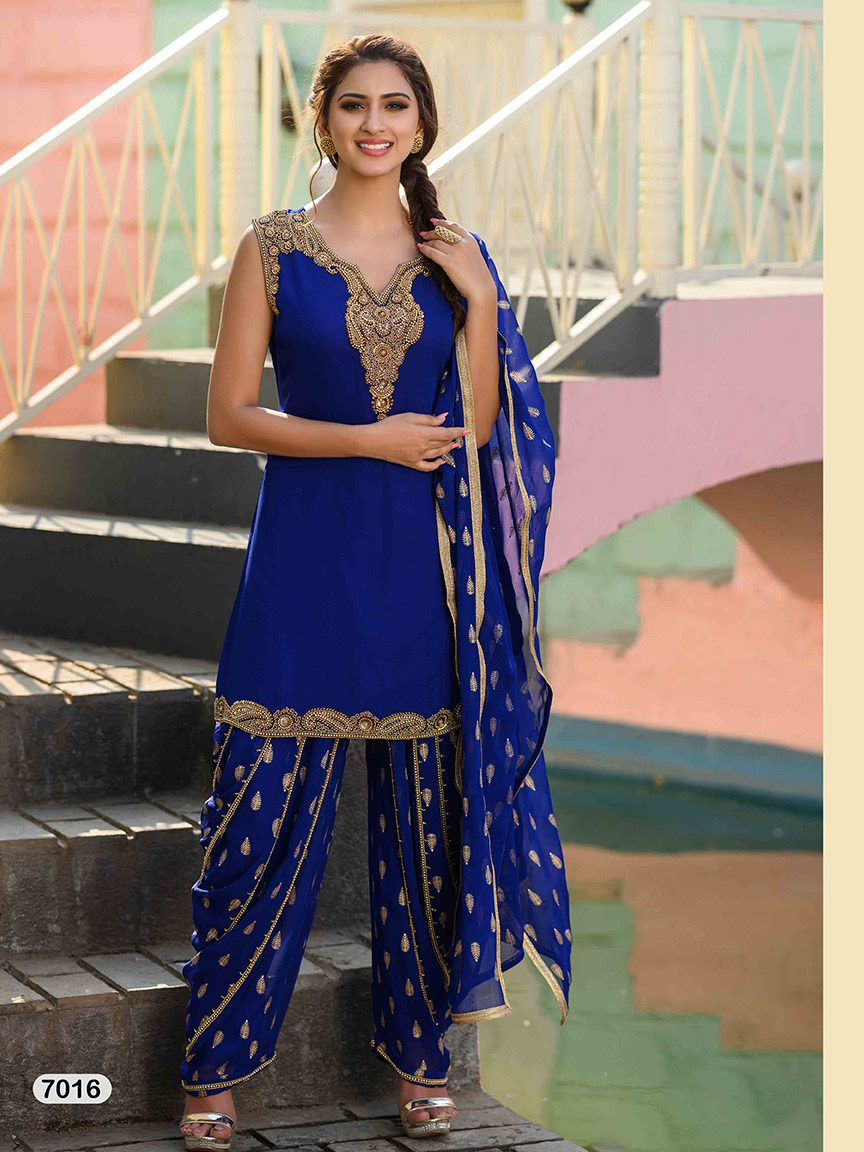 Royal blue viscose georgette sharara set with embellished sharara and dupatta
