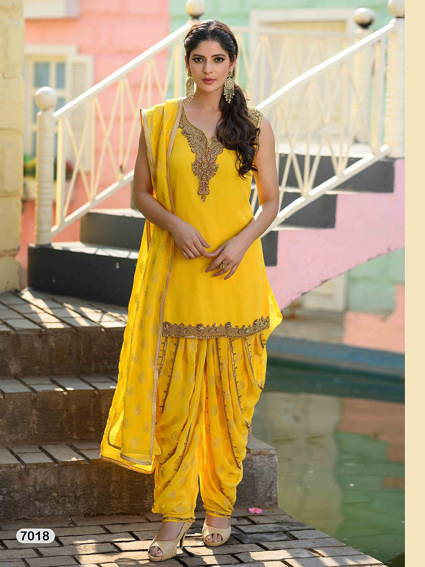Sunshine yellow viscose georgette sharara set with embroidery