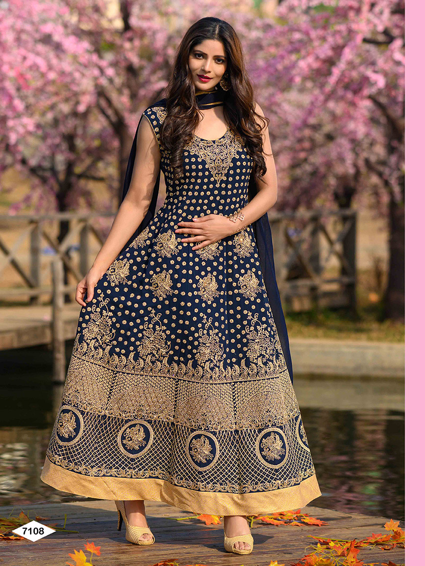 Party-wear blue viscose georgette anarkali with golden artwork and heavy embroidery