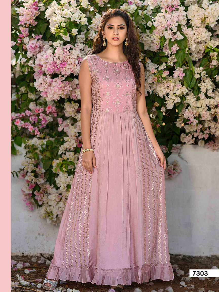 Dusky pink chinon kurti with silver embellishments