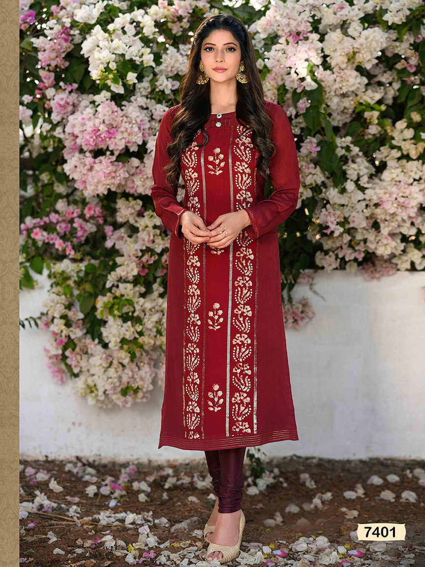 A maroon chinon kurti with golden gota work