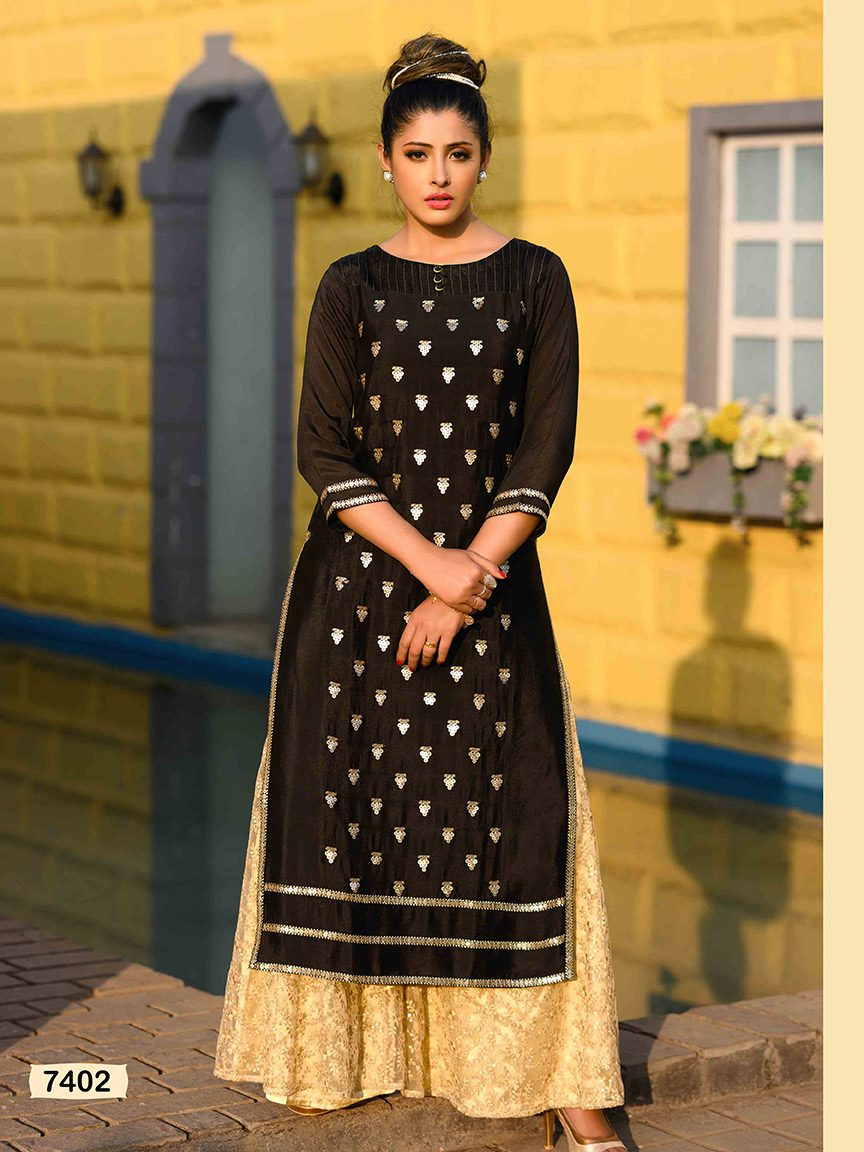A back chinon kurti with beautiful sequin detailing