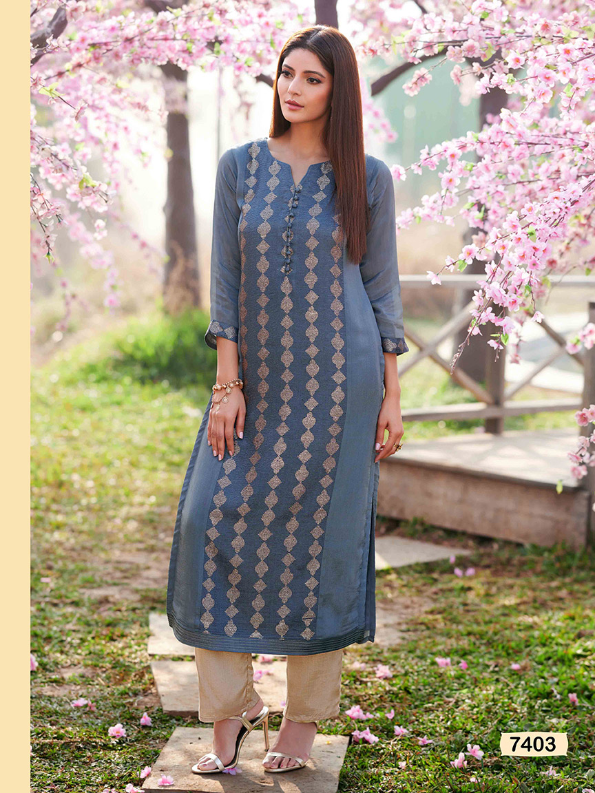A lightweight powder blue chinon kurti with intricate thread work