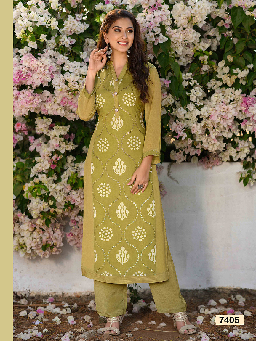 A mehendi green lightweight chinon kurti with beautiful prints