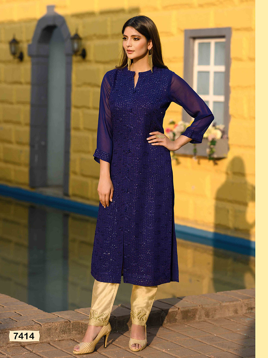 A dark blue viscose georgette kurti with sequin and embroidery detailing