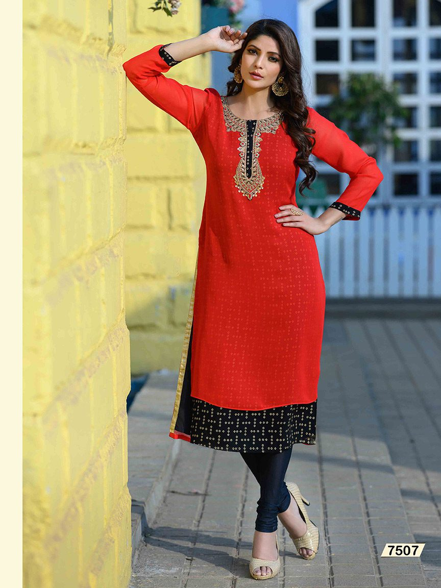 Bold and stunning red bandez Viscose Georgette kurti with embroidery