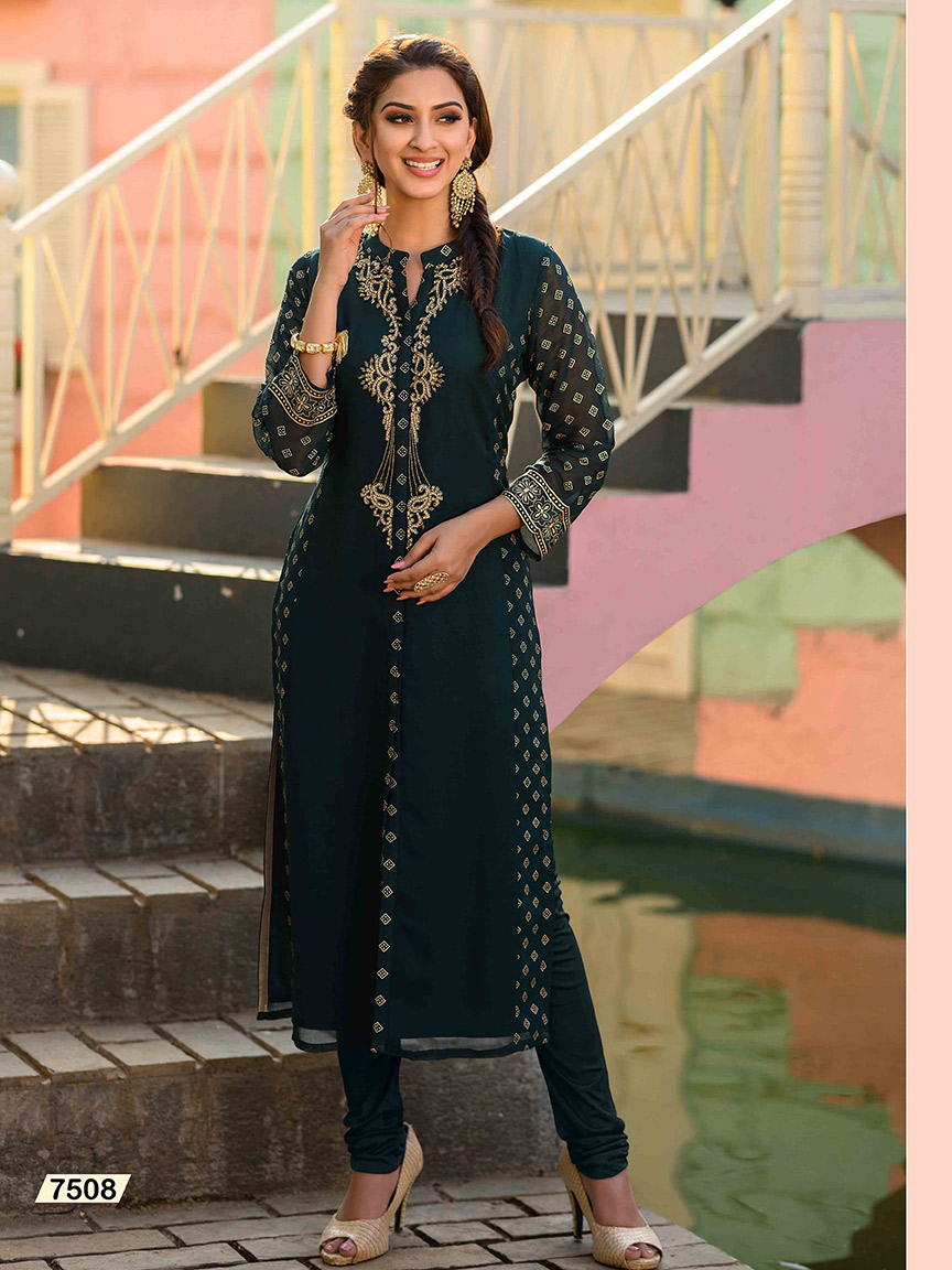 Bottle green Viscose Georgette kurti embroidered with intricate gold threads
