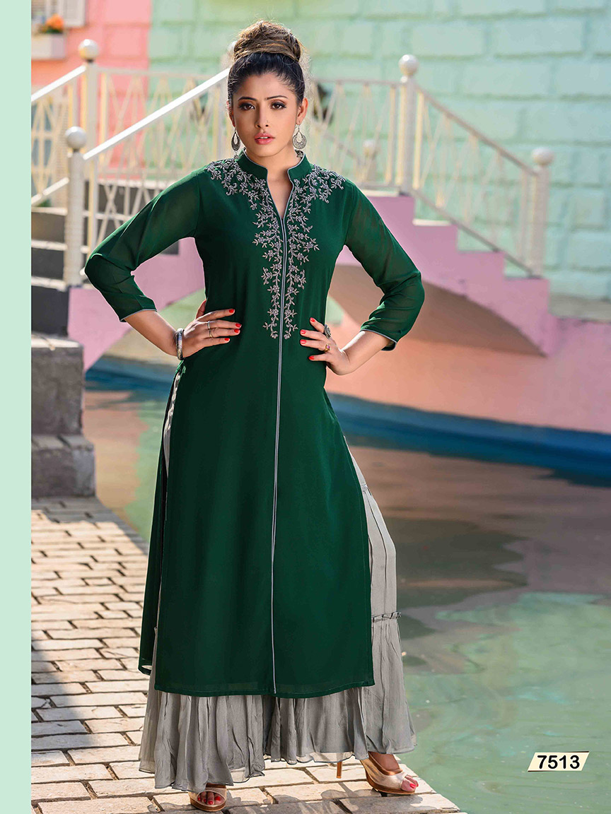 Bottle green Viscose Georgette kurti with silver hand embroidery