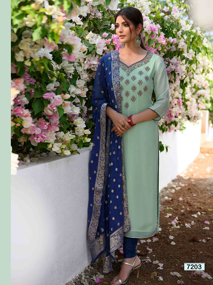 Emerald blue viscose georgette embroidered kurti with royal blue churidar and dupatta
