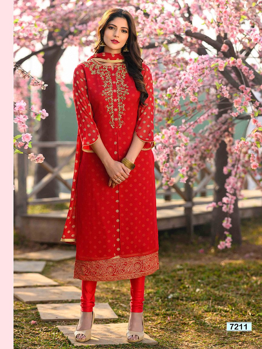 Bold red viscose georgette kurti with golden embroidery and design