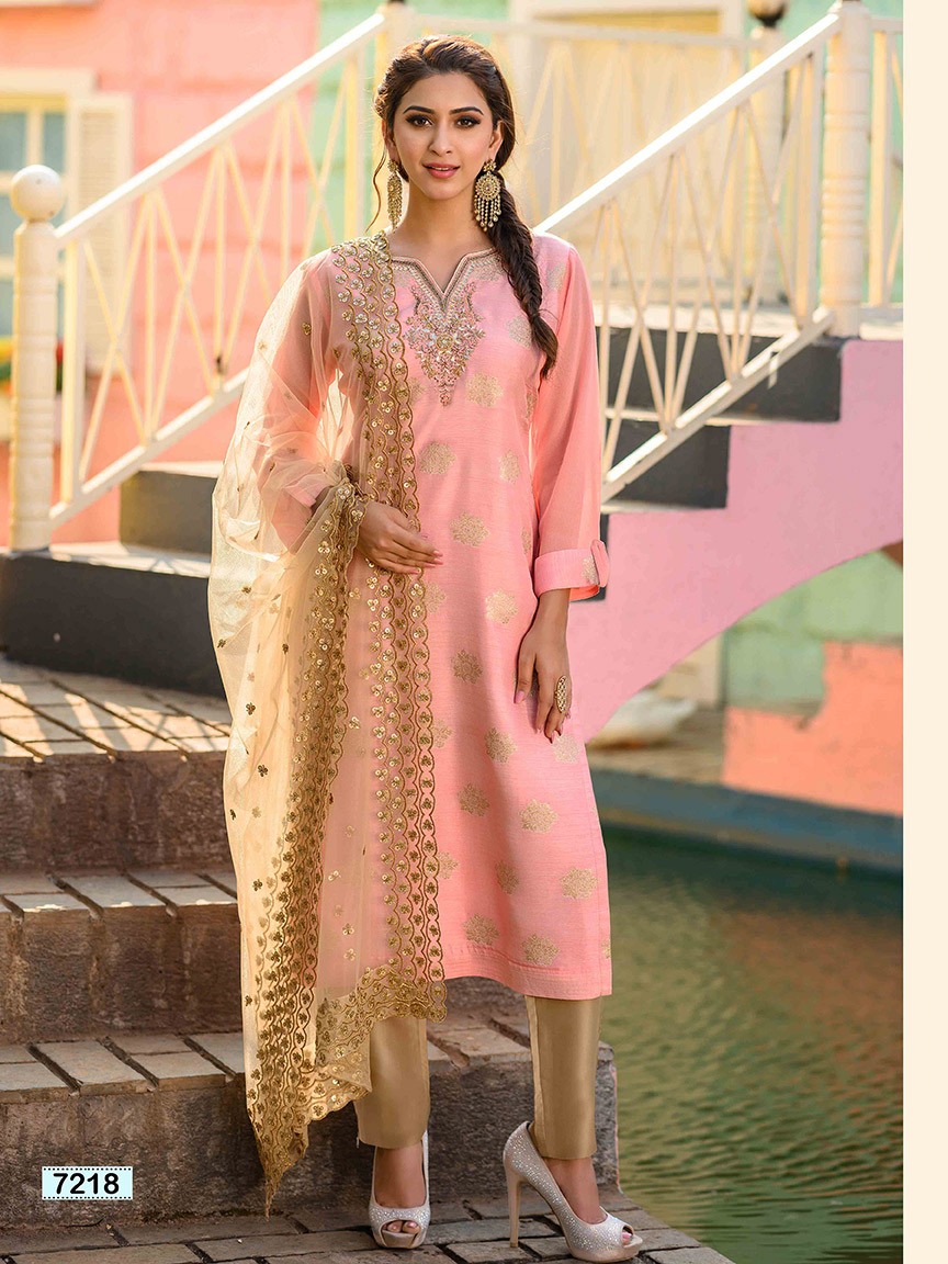 Baby pink brocade silk kurti with gota work and intricate embroidery
