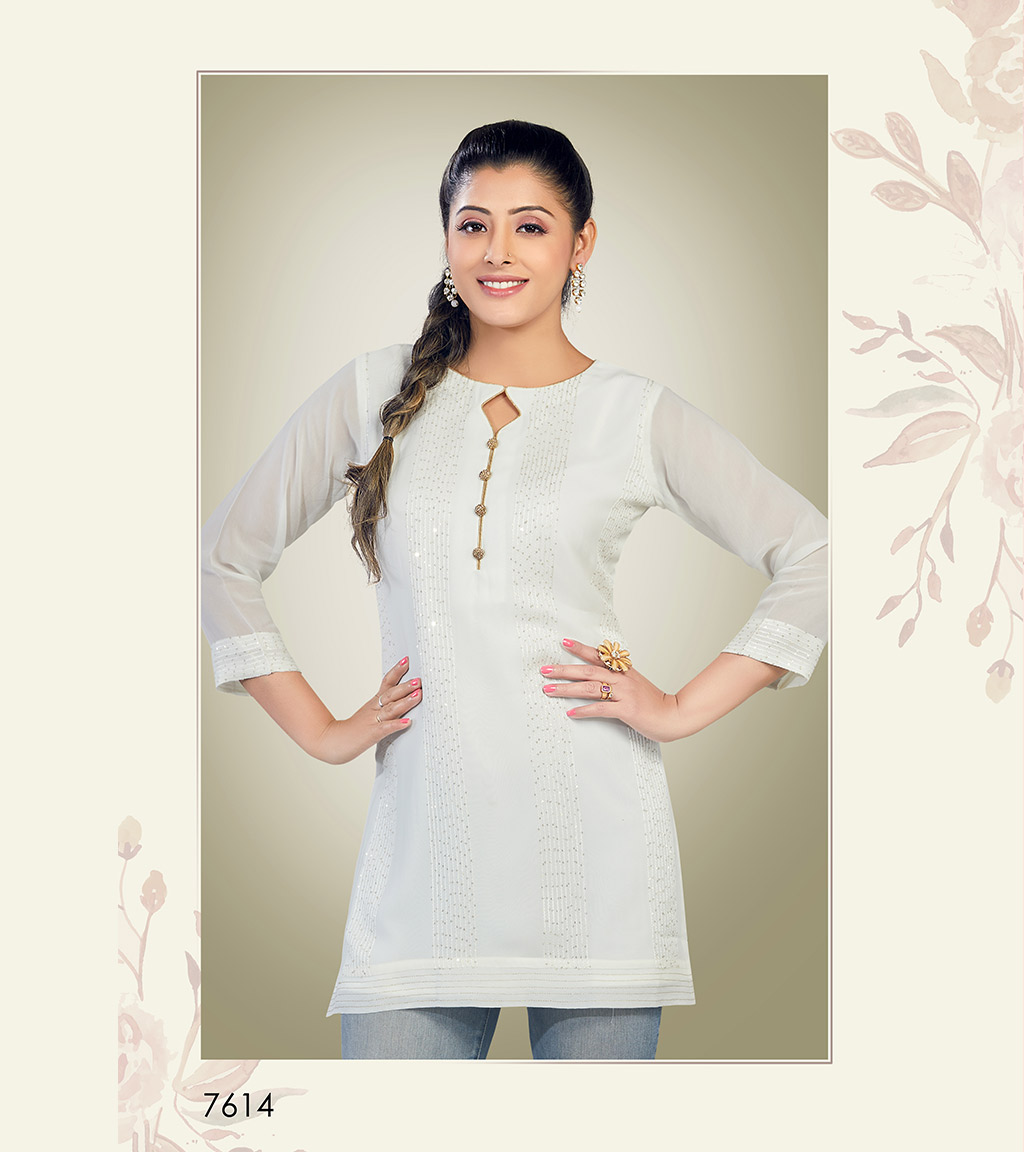 Plain white viscose georgette short kurti with sequin detailing