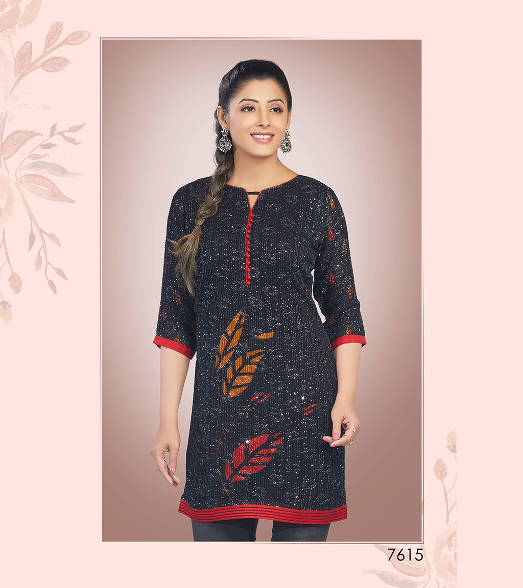 Dark blue viscose georgette short kurti with block prints