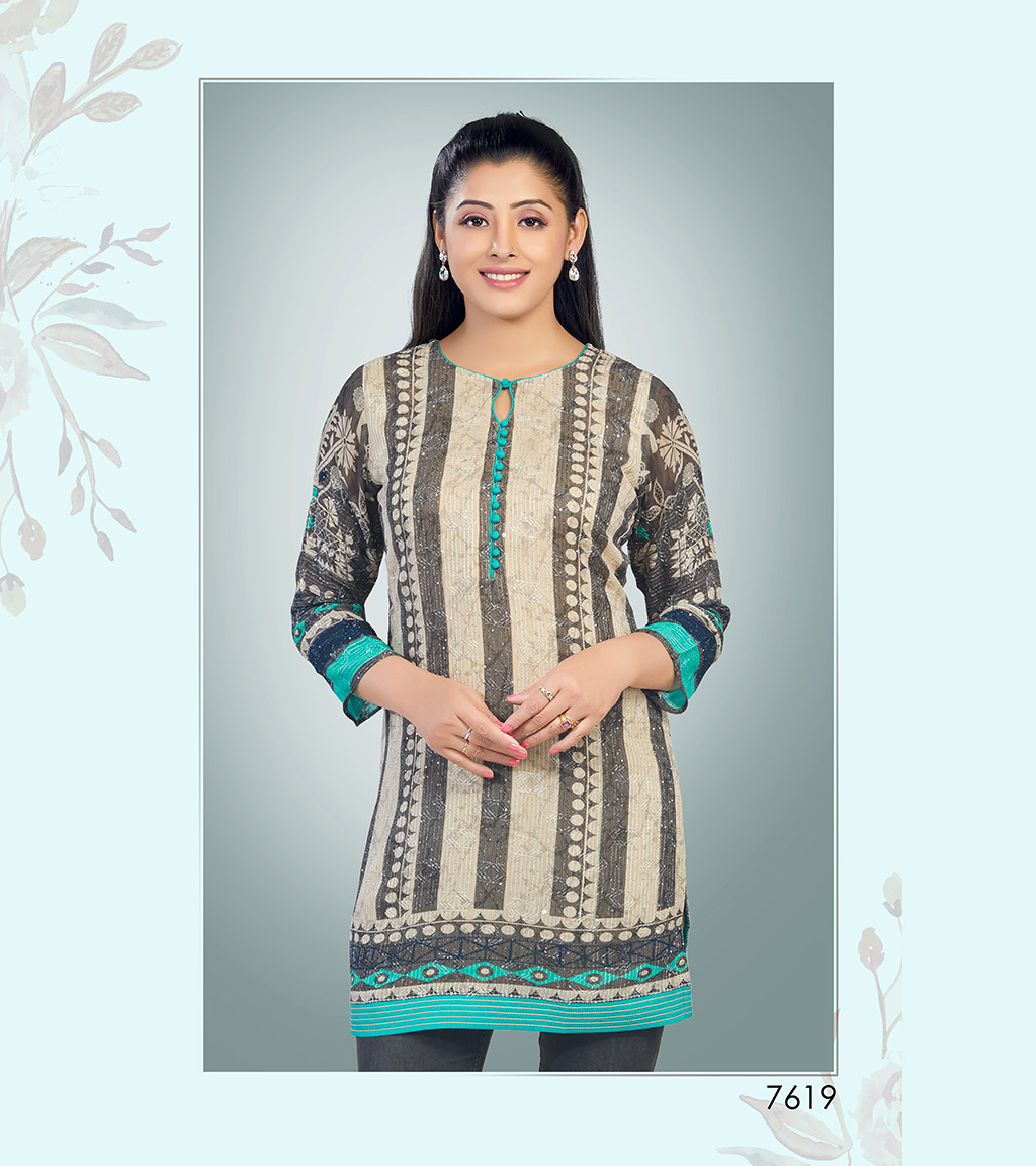 Linear printed nude viscose georgette short kurti with turquoise streaks